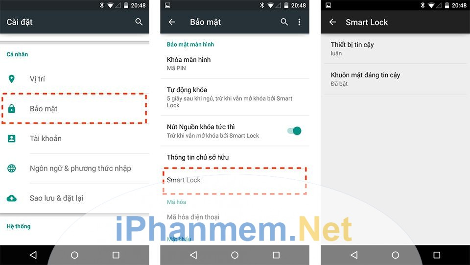 Đăng nhập qua Smart Lock trên smartphone Android