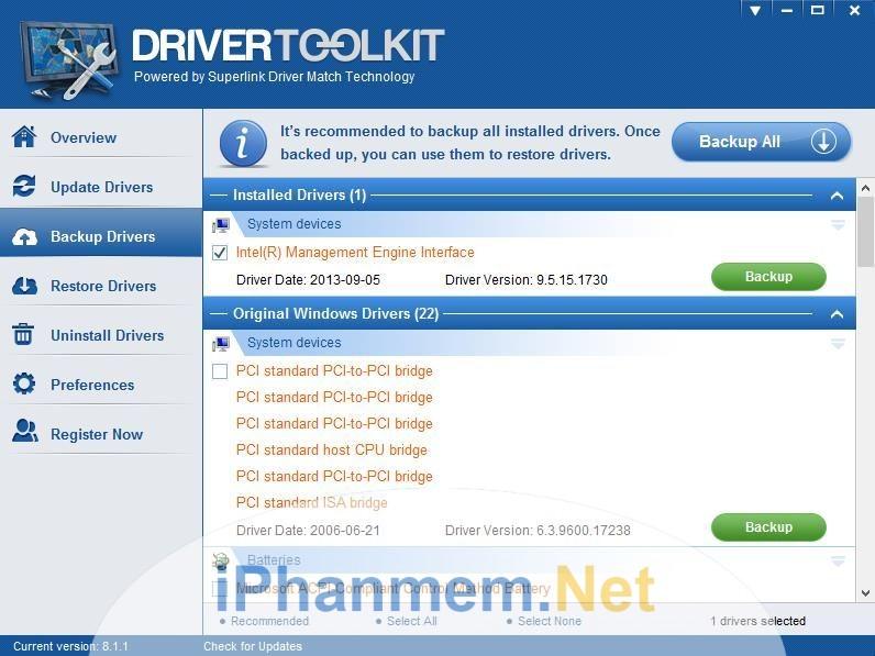 Giao diện của phần mềm Driver toolkit thân thiện với người dùng