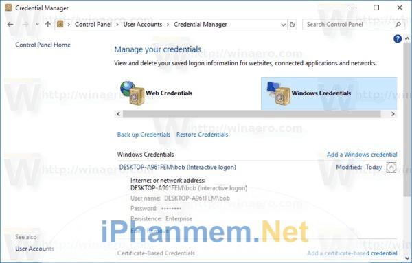 Mật khẩu được lưu trong Credential Manager ở Control Panel